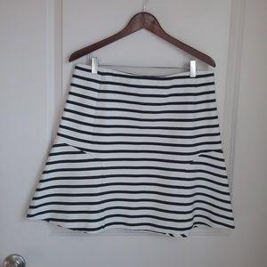 Ann Taylor Ivory & Blue Stripe Circle Skater Skirt